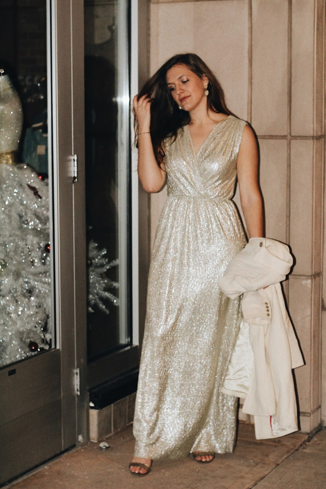 gold wrap dress gown new years eve