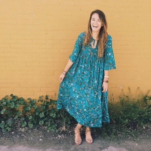 content creation yellow wall boho teal maxi