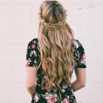 content creation long blond hair black floral dress