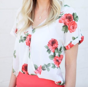 content creation floral blouse
