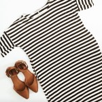 content creation striped dress pointy tan flats