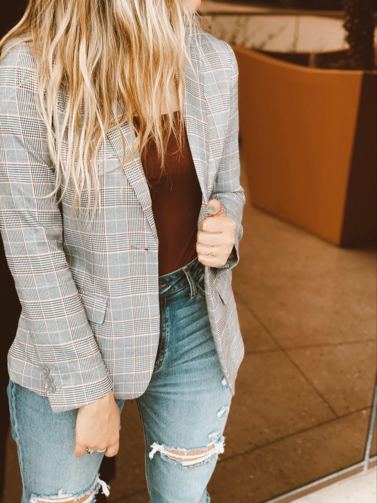 menswear glen plaid blazer fall productivity boost