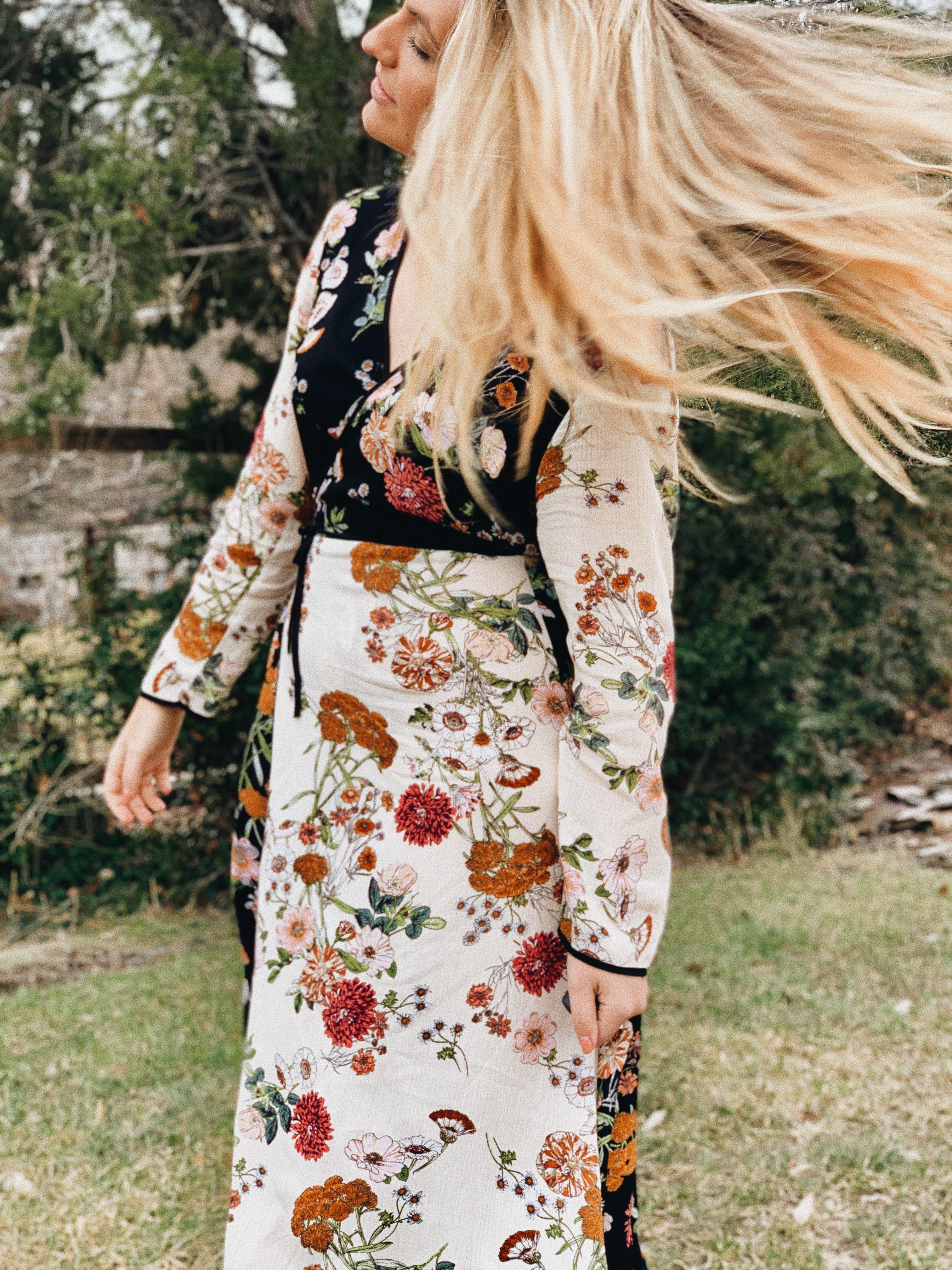 Dresses & Jumpsuits for Spring floral wrap dress hair flip portrait