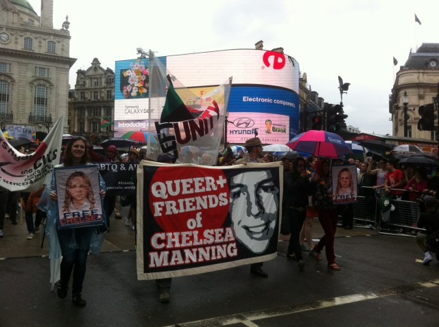 Queer + Friends of Chelsea Manning contingent at London Pride 2014 - Piccadilly Circus