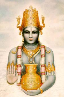 Lord Dhanvantari, who brought Ayurveda to Earth, holding a golden vessel, showing the hand mudra of Do Not Fear, wearing a golden crown