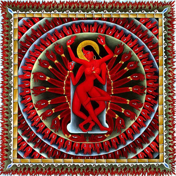 Red goddess dancing in a mandala fo red and gold