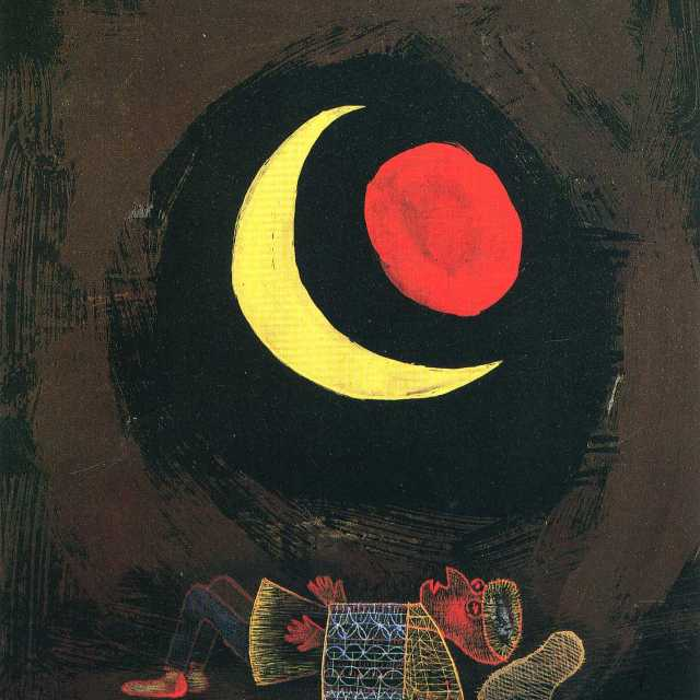 Relaxation Painting by Paul Klee, Strong Dream, person sleeping, with the moon and red reflection above them
