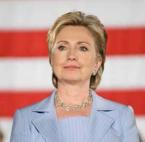 Hillary Clinton in front of American flag