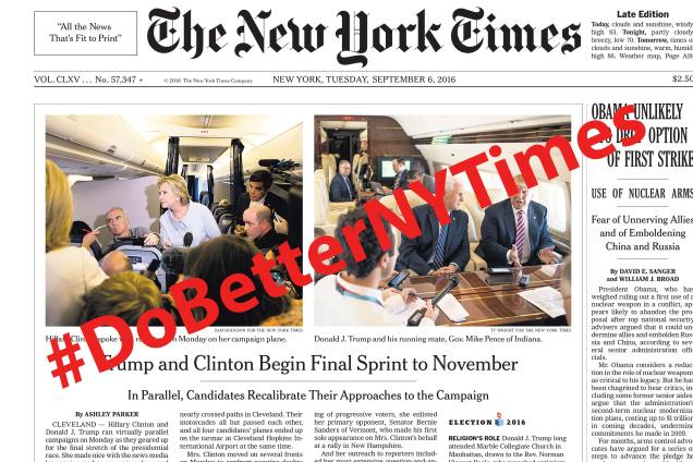 new york times front page #DoBetterNYTimes