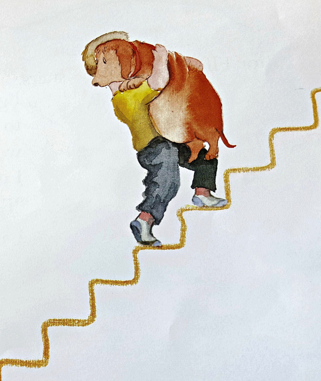 Boy carries dog upstairs