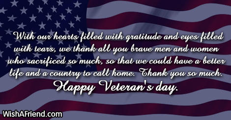 With Our Hearts Filled With Veterans Day Message