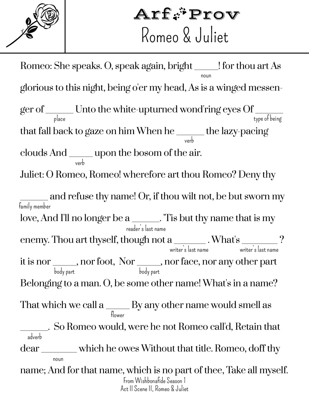 ArfProv for Romeo and Juliet MadLibs