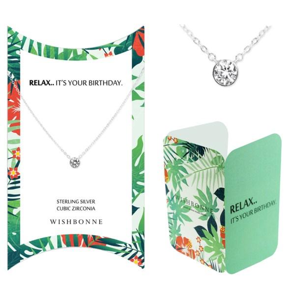 Birthday Bezel Stone Pendant Necklace