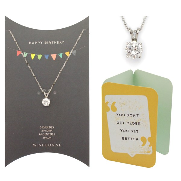 Birthday Solitaire Pendant Necklace