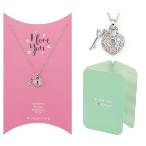 Loved One Heart and Key Pendant Necklace