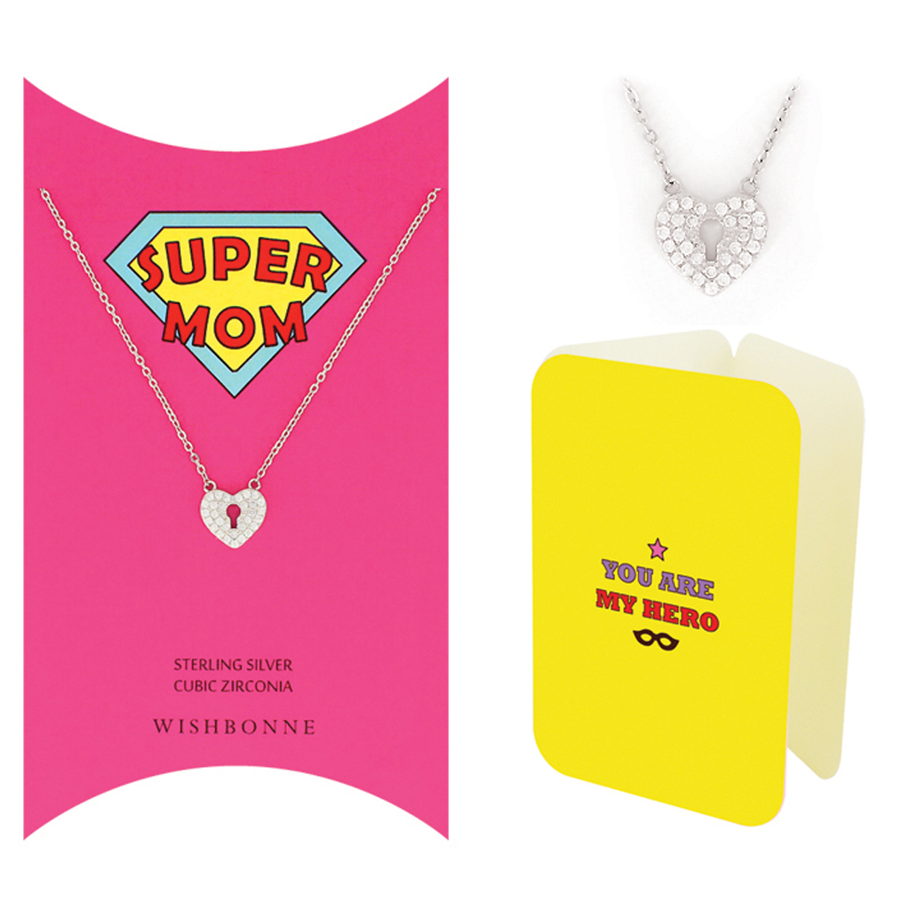 Mom Heart Keyhole Necklace