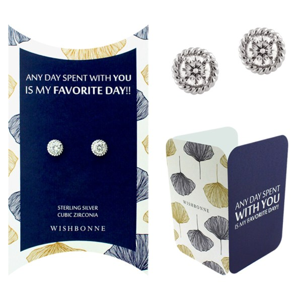 Positive Large Solitaire Stud Earrings