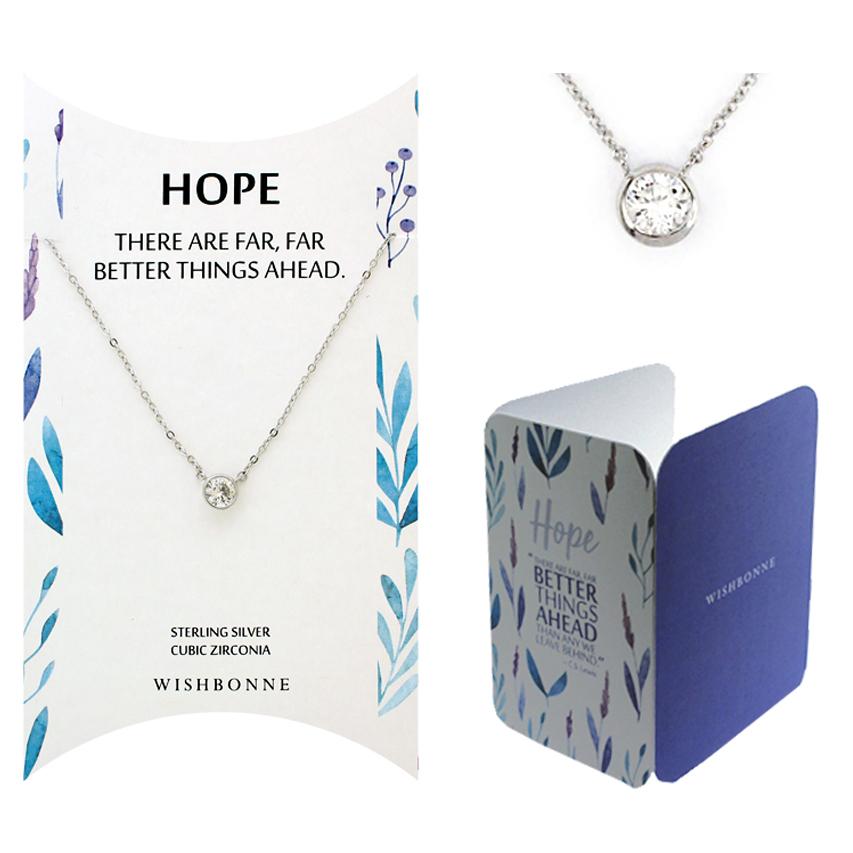 Inspirational Hope Bezel Stone Necklace