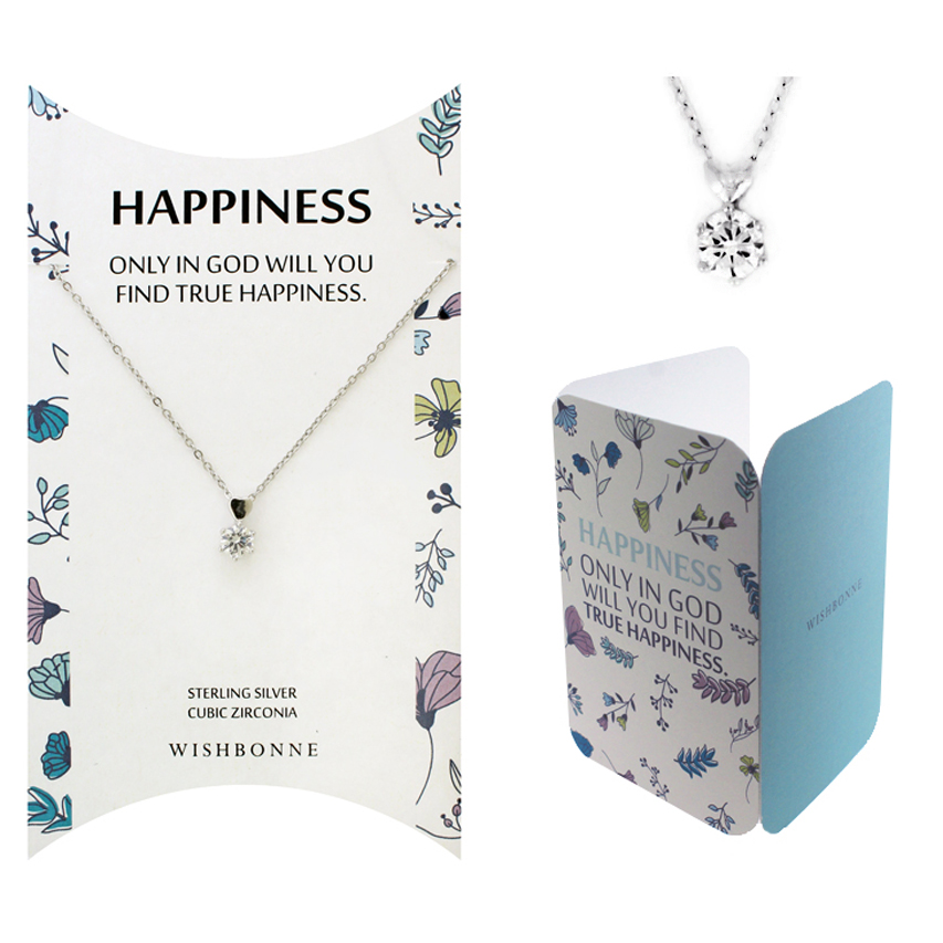 Biblical Happiness Solitaire with Heart Necklace