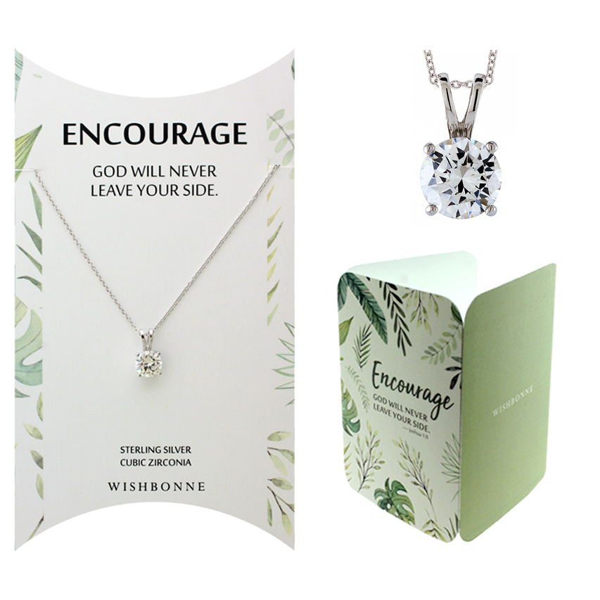 Biblical Encourage Solitaire Pendant Necklace