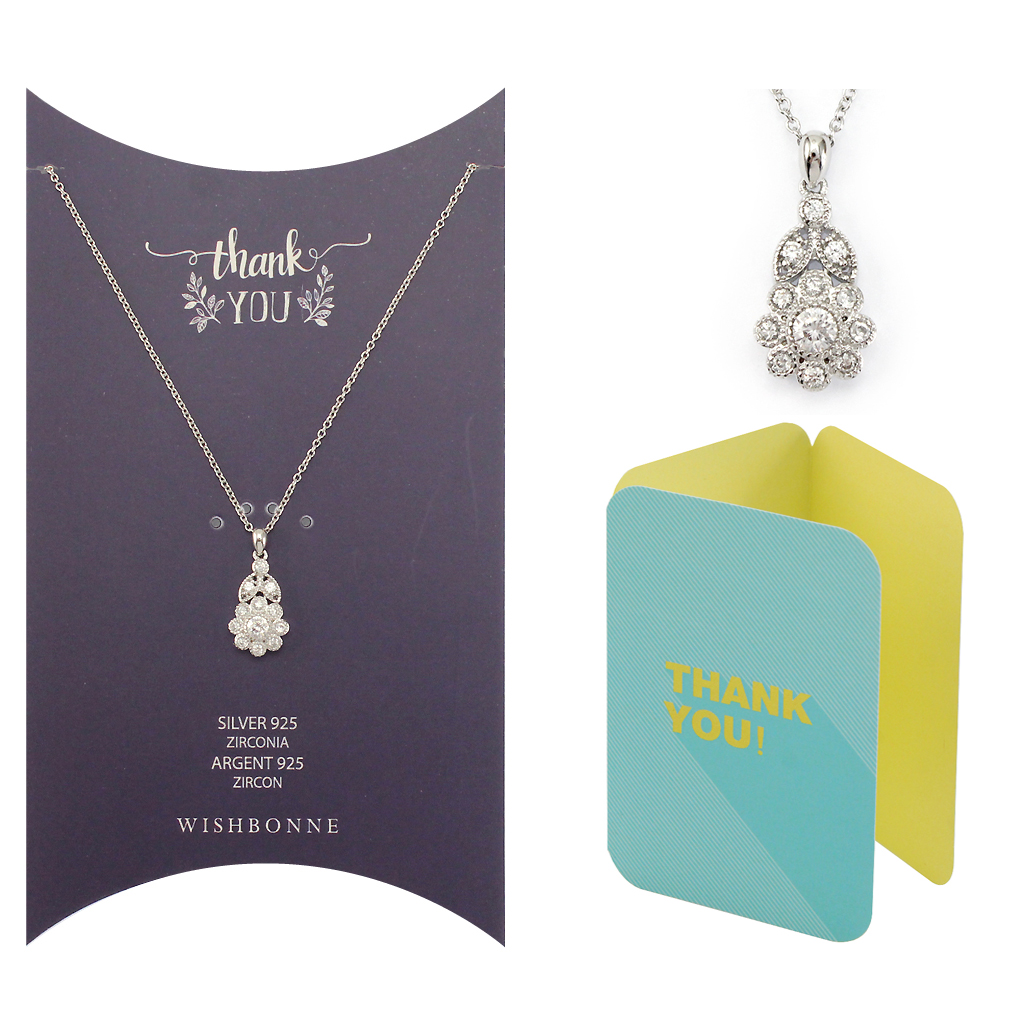 Thank you Flower Pendant Necklace