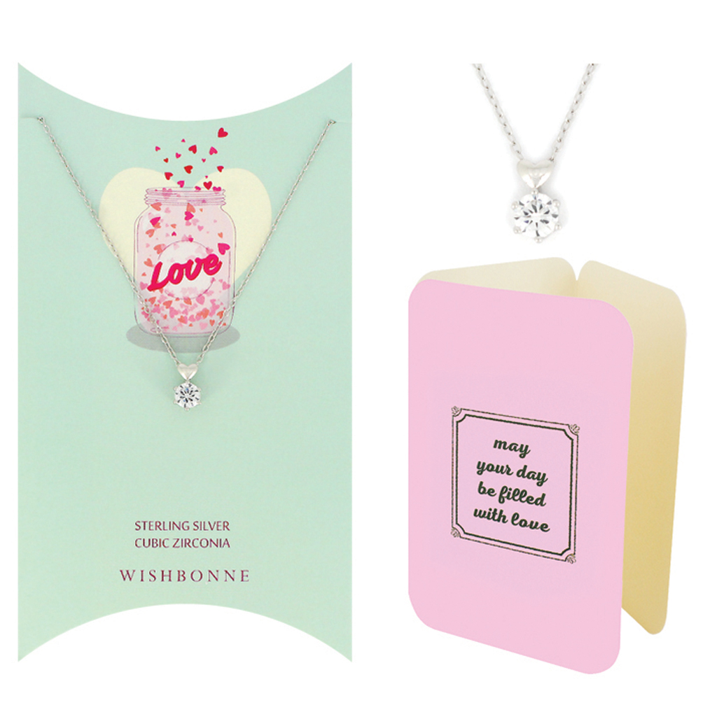 Loved One Solitaire With Heart Necklace