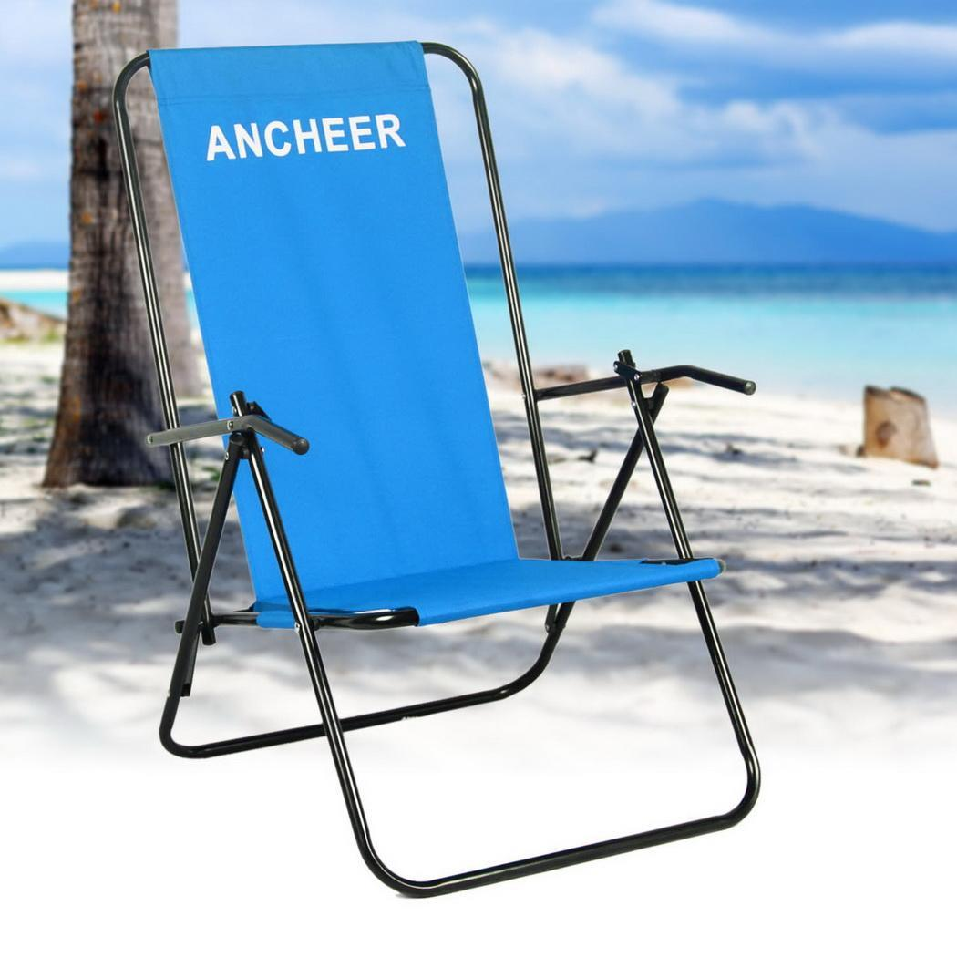 Portable Beach Chair Folding Chaise Lounge Chair Patio Outdoor Pool Beach Lawn
