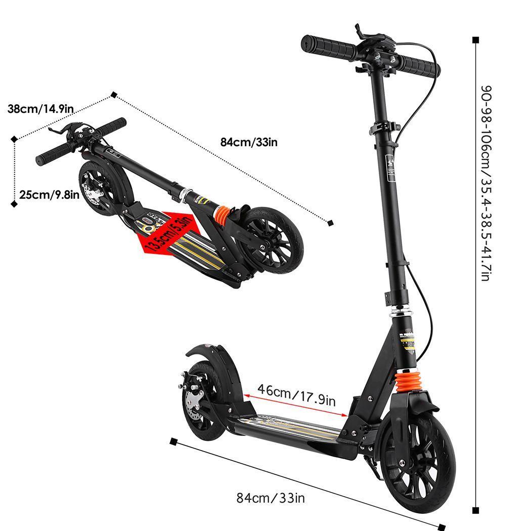 Folding Aluminum 2 Wheel Adult Kick Scooter Adjustable