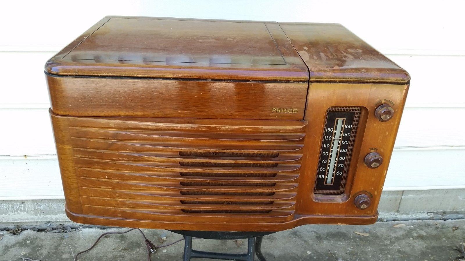 Vintage Philco Radio Record Player Wood Case Model 46