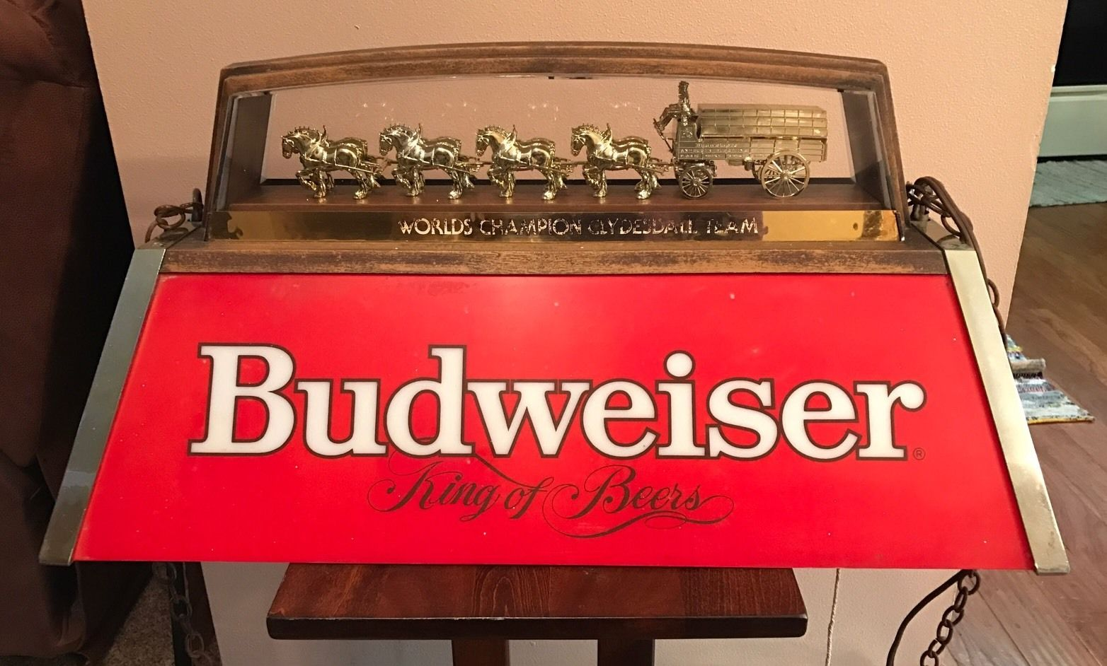 Vintage Budweiser Clydesdale Pool Table Hanging Light Bud