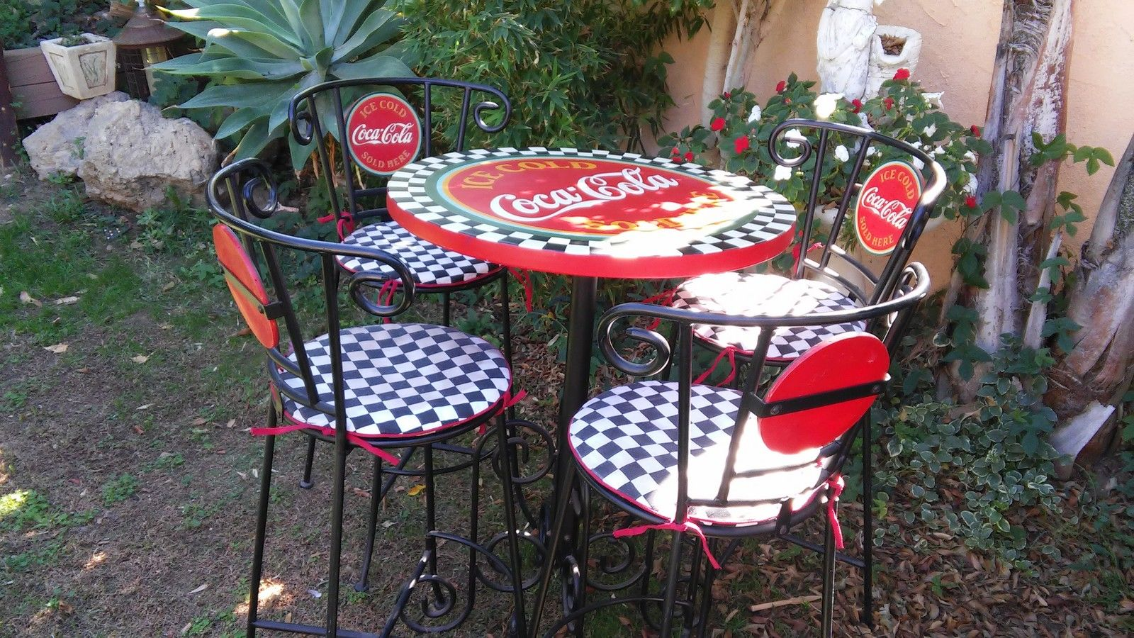 Coca Cola Table And Chairs Authentic Vintage Coca Cola Wrought Iron Type Bar Or Patio