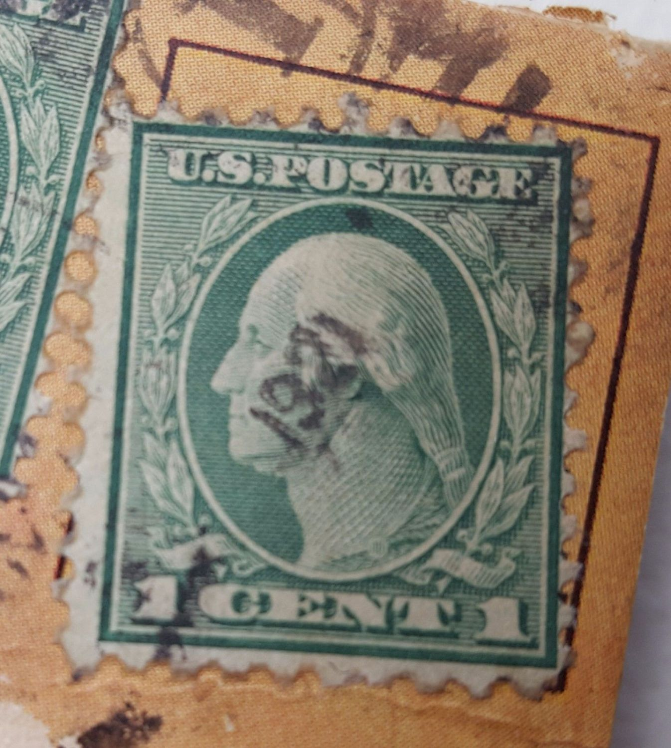 Rare Early 1900 Green George Washington 1 Cent Stamp