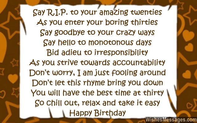 30th Birthday Card Messages For Best Friend – 30th Birthday Card Message
