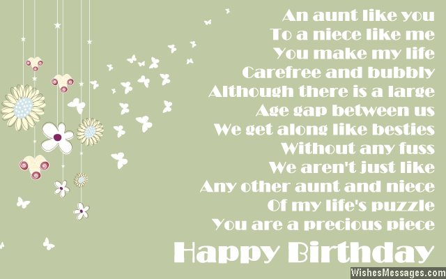 Birthday poems for aunt  WishesMessagescom