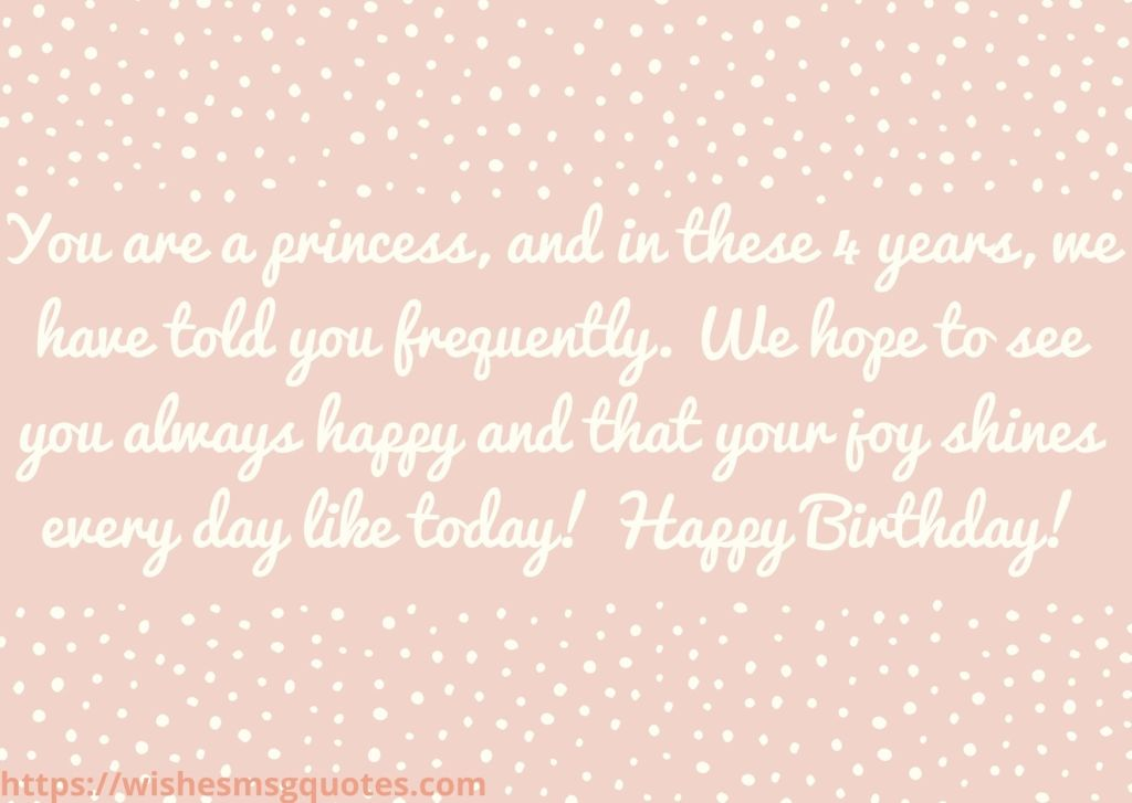 4th Birthday Messages From Mother To Baby Girl