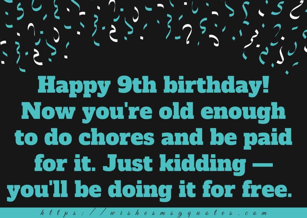 9th Birthday Wishes For 9 Year Boy