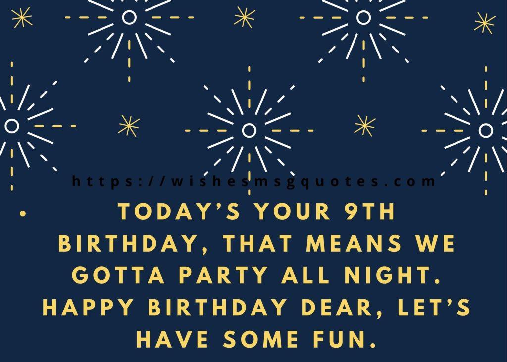 Birthday Wishes For Boy 9th Birthday