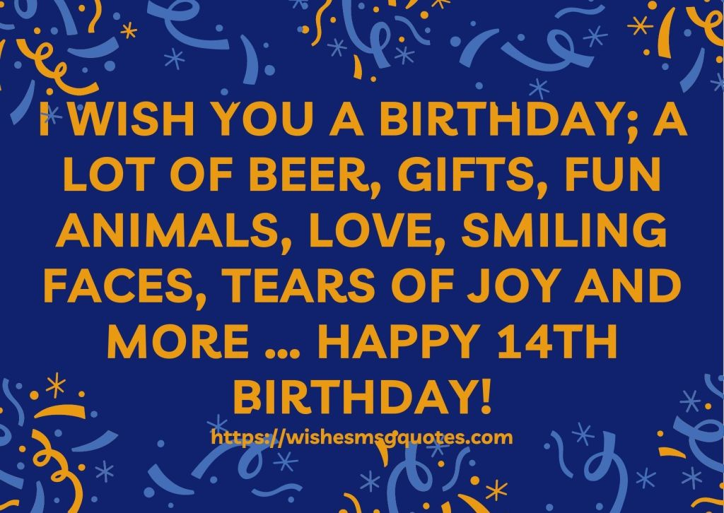14th Birthday Wishes From Mother To Boy Or Girl