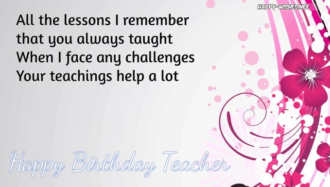 Best 20 Happy Birthday Wishes for Teacher