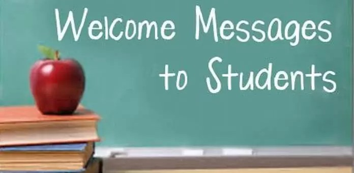 Welcome messages and quotes for student