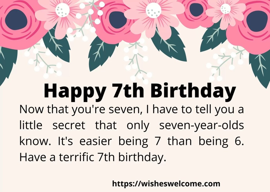 Happy 7th Birthday wishes for girls