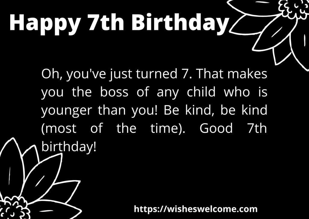 Happy 7th Bithday wishes