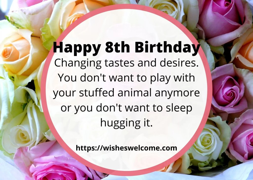 Happy 8th Birthday wishes for girls and boys