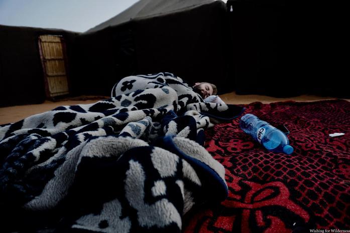 Sleeping outside in the desert dunes