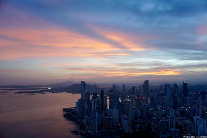 Sunset skyline of Panama City from Trump tower