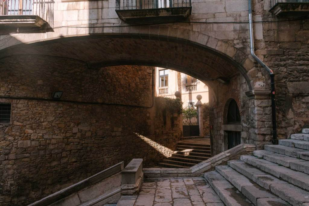 Stairs and archway in Girona Old Town