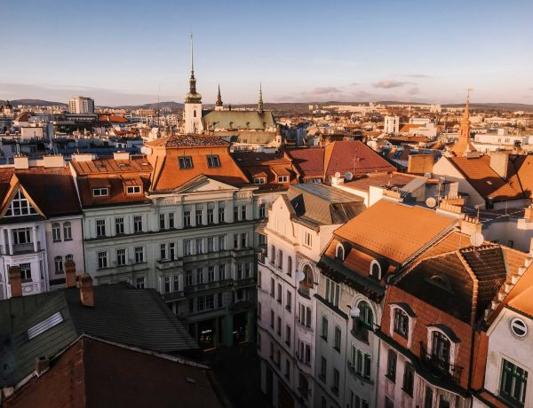View of Brno old town at golden hour