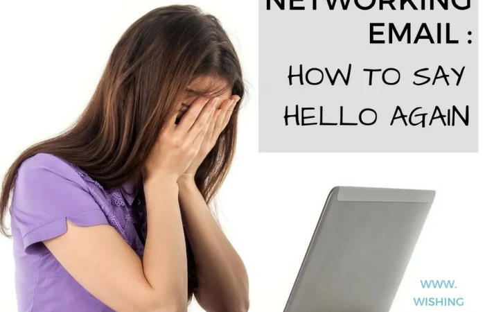 Networking Email: How To Say Hello Again