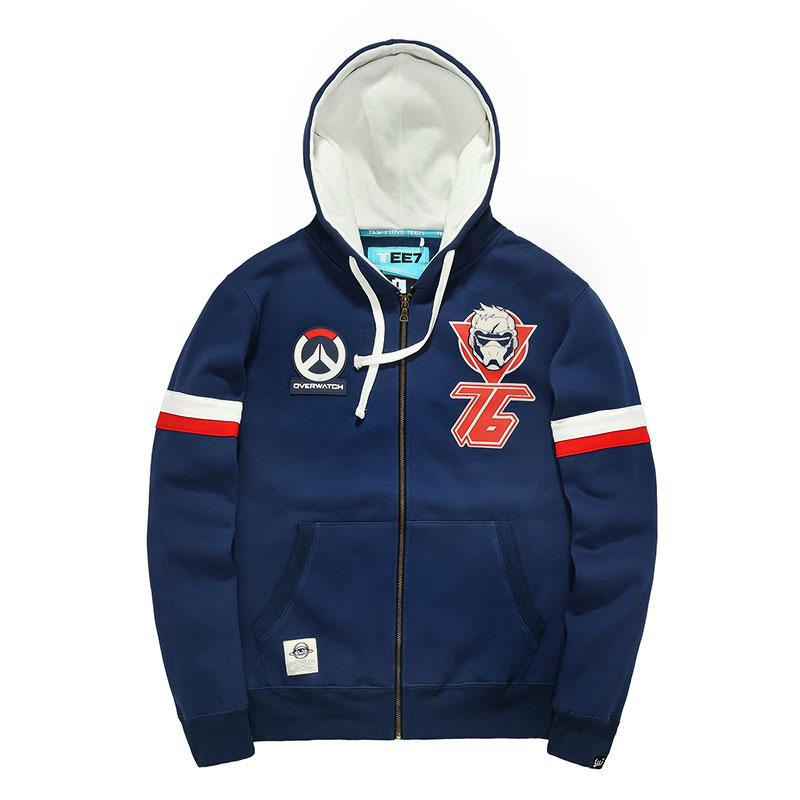 Overwatch Soldier 76 Sweatshirts Men Blue Hoodie Wishining