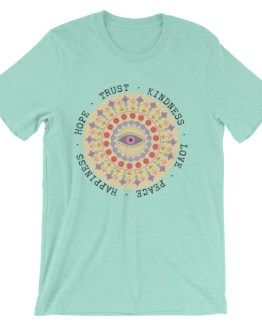 Hippie Flowers Mandela Peace Love and Happiness | Short-Sleeve Unisex T-Shirt